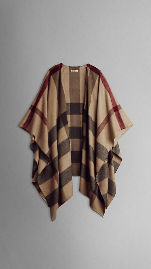 burberry check cashmere cape