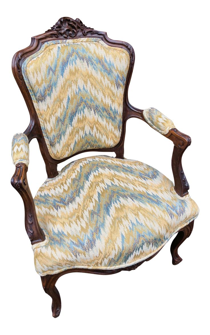 19th Century Carved & Chevron Fabric Chair on Chairish.com