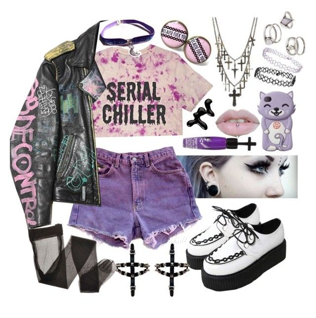 """♥ Pastel goth summer time ♥"" by bvb-army4life ❤ liked on Polyvore featuring Models Own, Manic Panic, Ceek, Topshop and Forever 21"