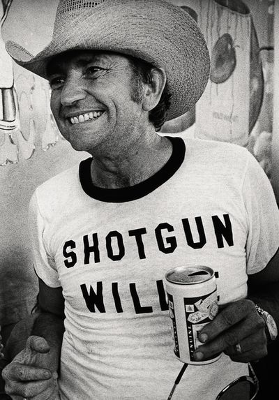 mighty willie nelson wearing a willie nelson t-shirt with the title of a willie nelson song he wrote about willie nelson…