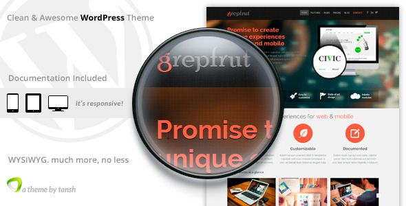 Grepfrut Software WordPress Theme   http://themeforest.net/item/grepfrut-software-wordpress-theme/6314881?ref=damiamio       Grepfrut is a minimal and bold software wordpress theme.  Features   Responsive Layout – Twitter Bootstrap 3  Revolution Slider Plugin $19 value  Visual Composer Plugin $30 value      Custom WordPress Sidebar Plugin $13 value for Unlimited Sidebars. Each sidebar (including footer sidebars), on any page can be replaced with custom sidebar. Page with two sidebars can be…