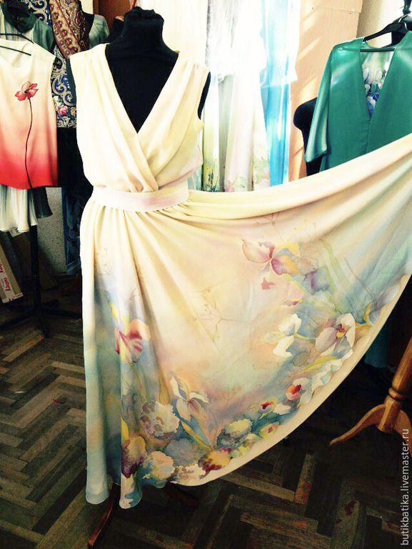Купить Шелковое платье батик Акварельное - разноцветный, цветочный, платье, акварель, цветы, весна, лето