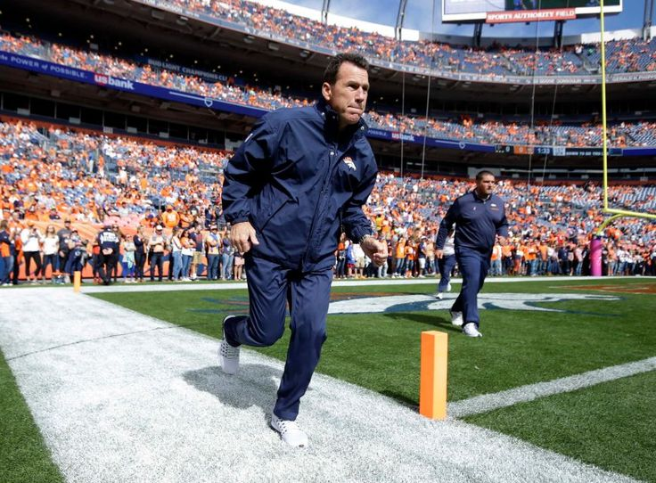 Falcons vs. Broncos:   October 9, 2016  -  23-16, Falcons.      Denver Broncos head coach Gary Kubiak takes the field prior to an NFL football game against the Atlanta Falcons, Sunday, Oct. 9, 2016, in Denver.