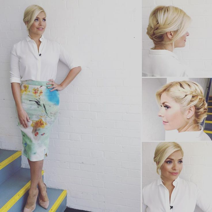 """Holly Willoughby on Instagram: """"Tuesday's look at @itvthismorning skirt by @viviennewestwoodofficial #anglomania ❤️ shirt by @massimodutti and hair and makeup by @patsyoneillmakeup xxx"""""""