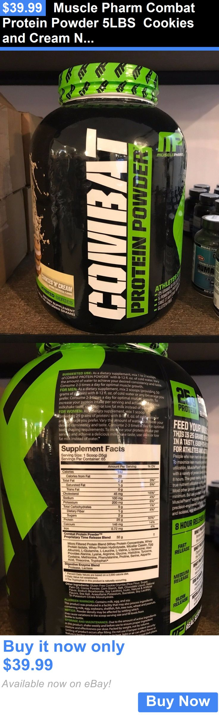 health and beauty: Muscle Pharm Combat Protein Powder 5Lbs Cookies And Cream New/Factory Sealed BUY IT NOW ONLY: $39.99