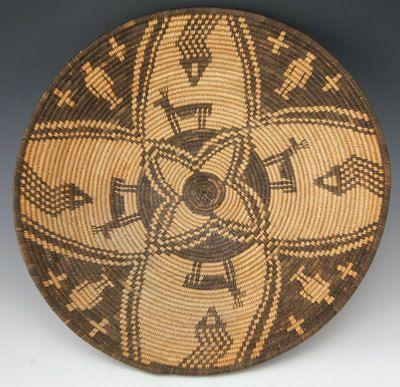 Apache Native American Indian Baskets,  - Yavapai Figurative Basket with Snakes, Deer and Humans