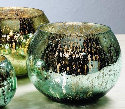 Set of 2 Mercury Glass Votive Candle Holders Green Blue Gold Votives 5.5x5 inch #MarketStreet