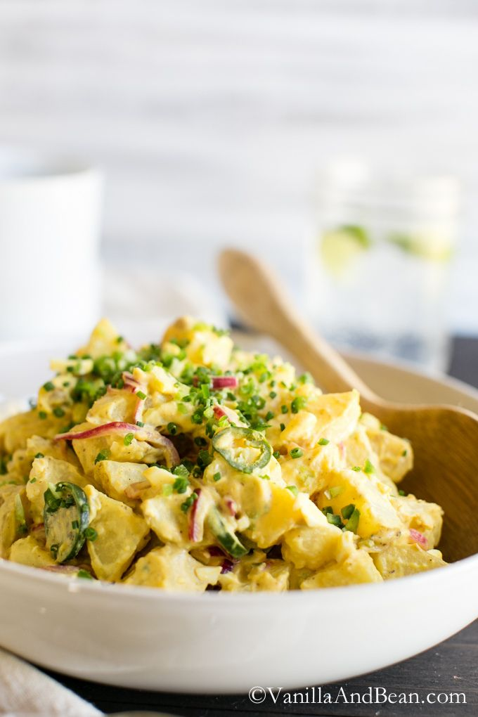 Texas Potato Salad | Vanilla And Bean : with quick pickled purple onions and jalapeños, it is tangy, creamy with a bit of crunch and a little bit of heat.  Full recipe