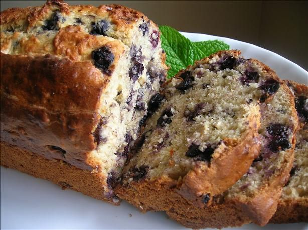 Banana Blueberry Bread from Food.com. With this very un-summer weather we are having today I was inspired to make something cozy. This was a good compromise. Make a comfort bread, but use summer ingredients.   								A good way to use up those old bananas. I use frozens ones in my breads.