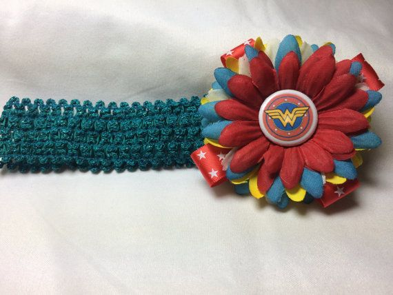 Wonderwoman FLOWER HEADBAND flower with teal band, baby headband, baby hair accessories, baby bands,headbands, superhero headbands, cute