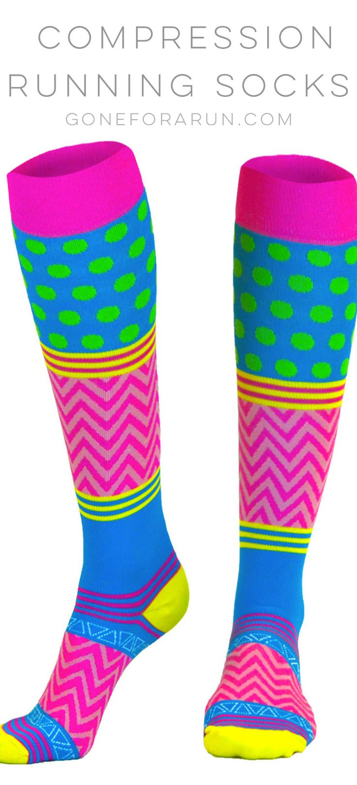 Crazy For Color Running Compression Socks. Fun and bright knee high compression socks for runners.