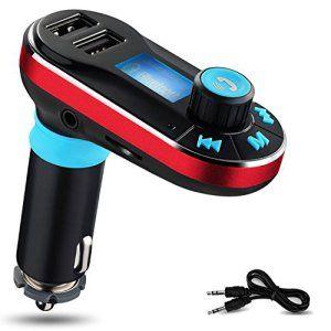 Transmetteur FM Yokkao®Kit de Voiture Bluetooth Lecteur MP3 avec Micro, Appel Mains Libres Double USB Chargeur Allume-cigare Haut-parleur…