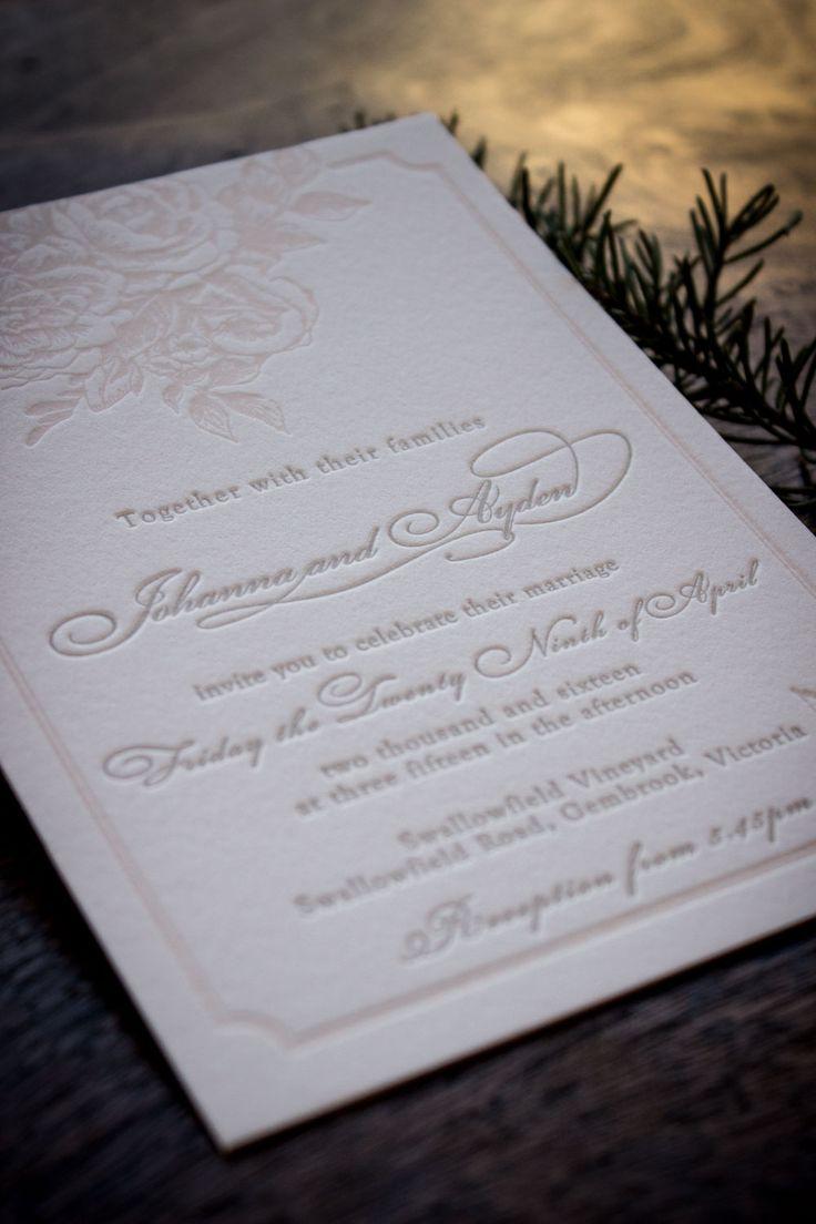 letterpress wedding invitation rose floral suite http://www.martindalepress.com.au