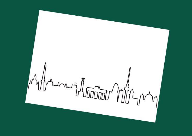 Weiße Postkarte mit der Skyline von Berlin. White postcard with the skyline of Berlin.