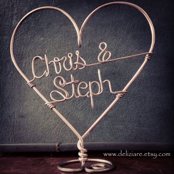 Custom Wire Heart Names Wedding Cake Topper by deliziare on Etsy