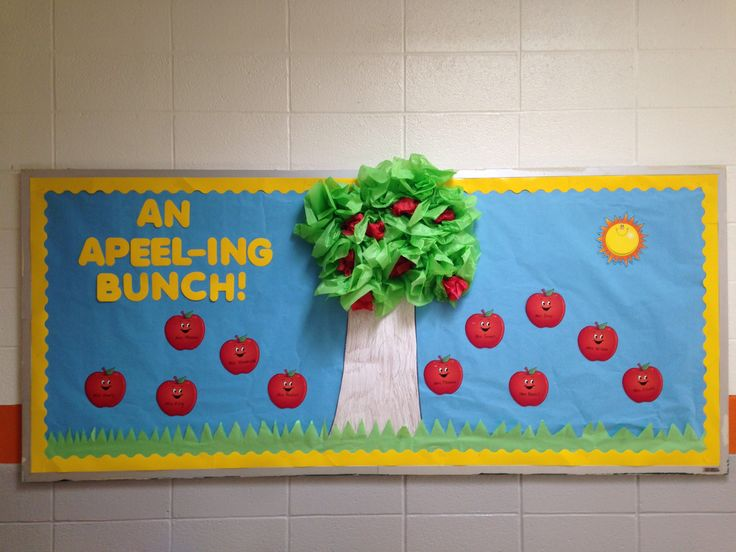 Apple tree bulletin board made with tissue paper