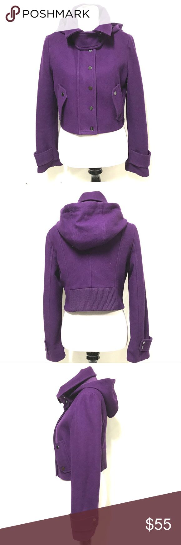 BCBG MAXAZRIA cropped coat-not bundle eligible Great saturated purple color. Wool blend. Zip up with snaps as a secondary closure. Attached hood.. This has no signs of wear at all.. Not bundle eligible. BCBGMaxAzria Jackets & Coats