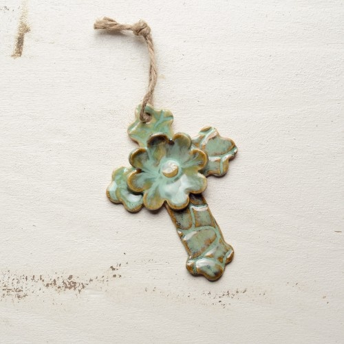 Pottery cross ornament - Cream or White colored instead of the green.