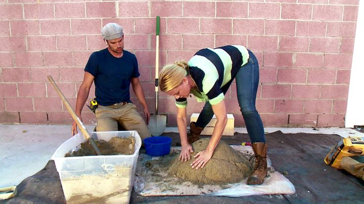 Casey shows how to make a beautiful outdoor fire pit of premixed concrete.