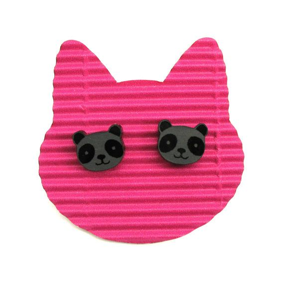 Black Pandas stud earrings. Very light and funny little by XOOXOO
