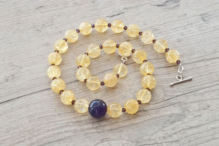 Golden Necklace, Purple Amethyst and Sparkly Quartz Necklace withPurple Swarovsky Crystal, Chunky Everydaywear Necklace, Statement Necklace by SunSanJewelry on Etsy https://www.etsy.com/listing/87600299/golden-necklace-purple-amethyst-and