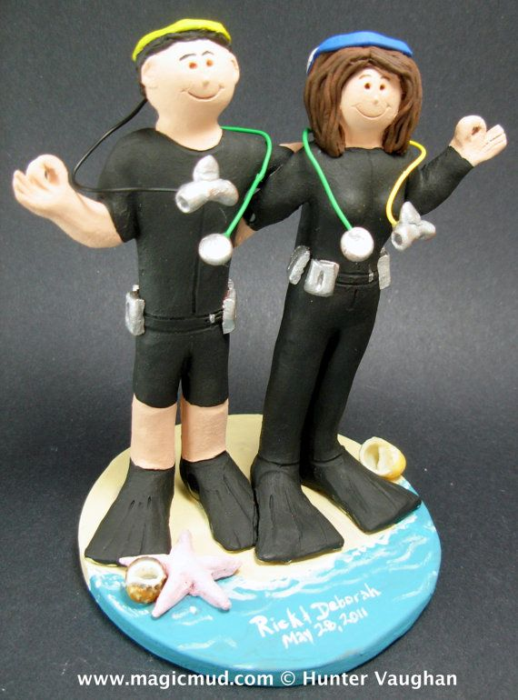 Diving WetSuits Wedding Cake Topper    Scuba Diving Wedding Cake Topper, custom created for you! Perfect for the marriage of a Skin Diving Groom and his Bride!    $235   #magicmud   1 800 231 9814   www.magicmud.com