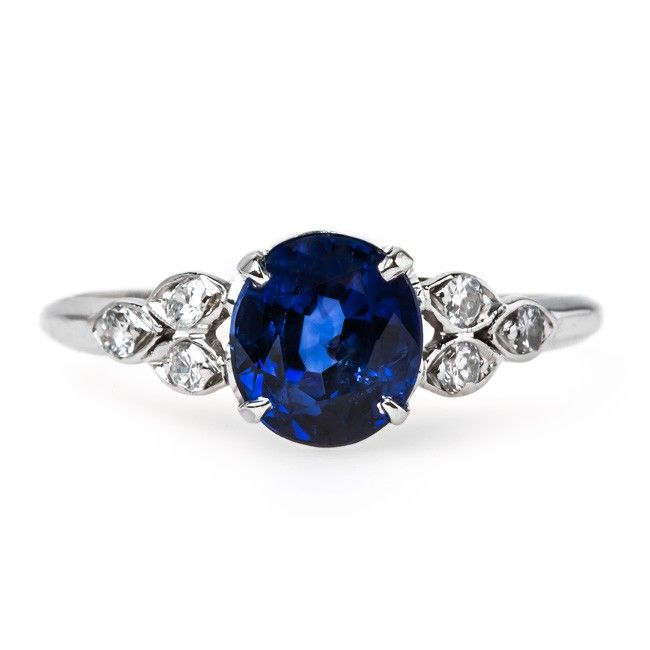 Sea Breeze is a dreamy 1950's sapphire engagement ring from Trumpet & Horn // $5,750
