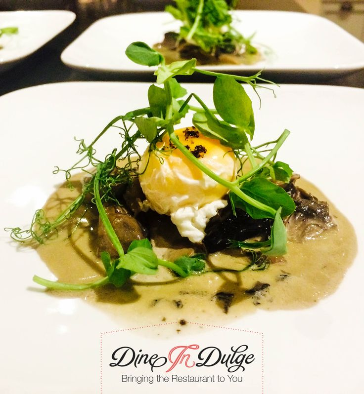 Seared Mushroom Selection with Green Shoots & Poached Yolk #hireachef #privatechef #personalchef #privatedining #partycatering https://www.dineindulge.co.uk/menus