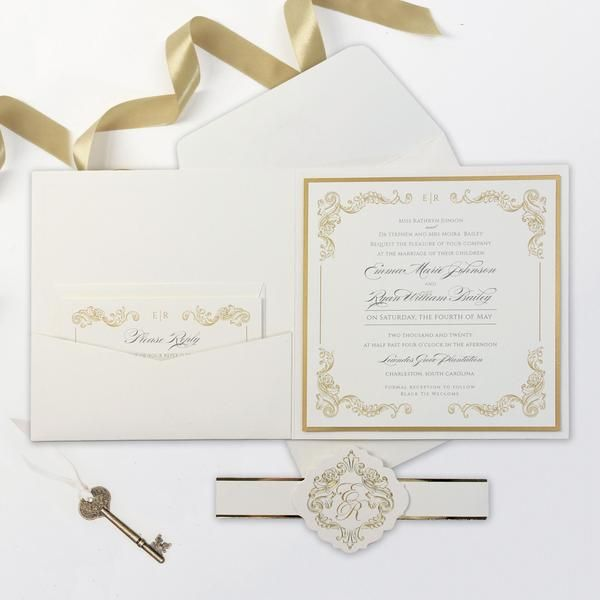 Regal Gold Square Ivory Pocket Gold Foil And Cream Wedding Set With Gold Foil Belly Band Wedding Invitations Wedding Invitations Uk Rose Gold Invitations