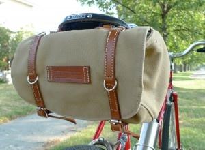 Canvas and leather bike saddle bag