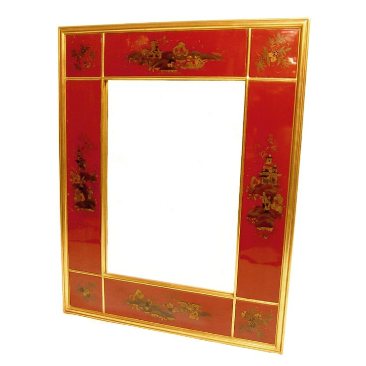 Red Lacquered and Gilt Decorated Panel Framed Mirror: Red Lacquer, Decor Panels, Panels Frames, Framed Mirrors, Gilt Decor, Frames Mirror