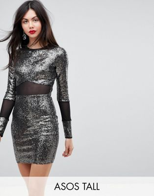 ebd28072 TALL All Over Sequin With Mesh Inserts Mini Dress in 2019   majlesi    Dresses, Sequins, ASOS