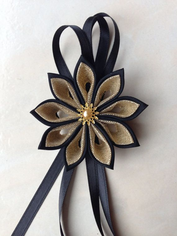 Black and Gold napkin rings / gift bow by TheCallendersFlowers