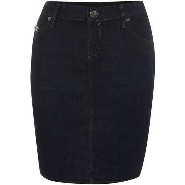 True Religion Elly denim pencil skirt in old road run ($110) ❤ liked on Polyvore featuring skirts, clearance, denim dark wash, true-religion skirt, fitted pencil skirt, true religion, knee length denim pencil skirt and zipper skirt