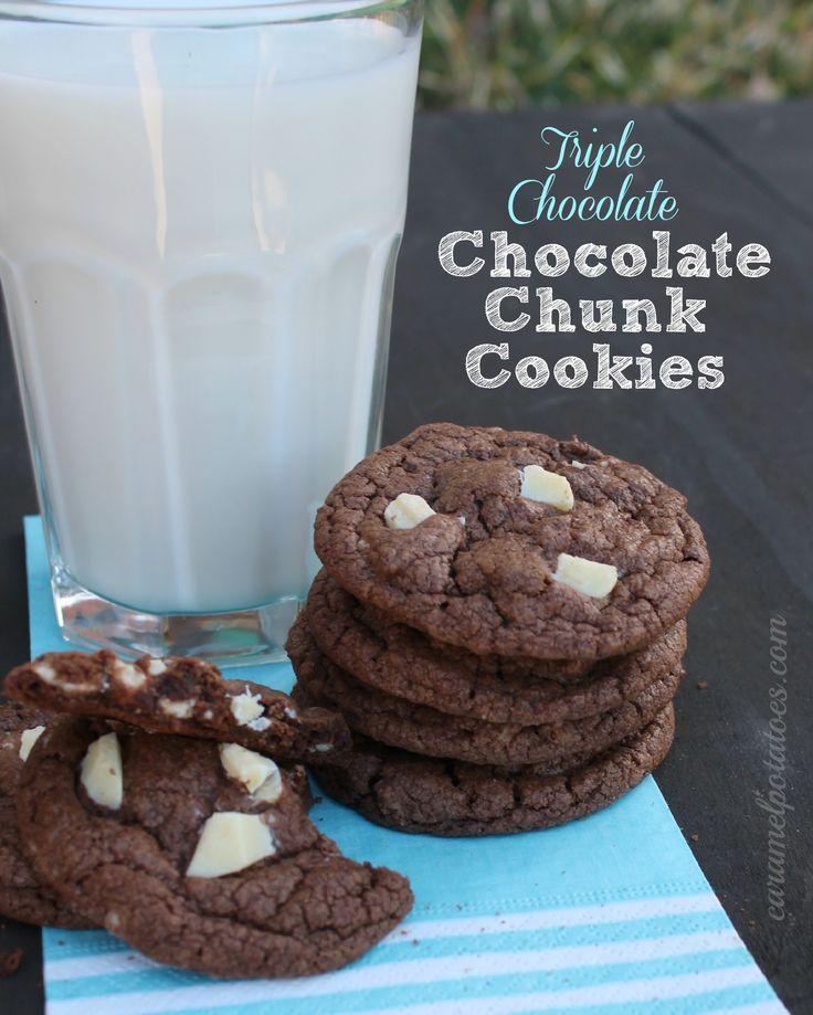 Triple Chocolate Chunk Cookie Bars Recipe — Dishmaps