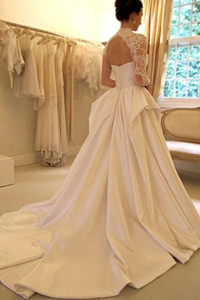 Long Sleeves High Neck Lace Court Train Satin Wedding Dress WD159