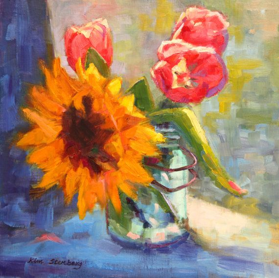 Sunflower Still Life, Original Oil Painting, OOAK, 12 X 12