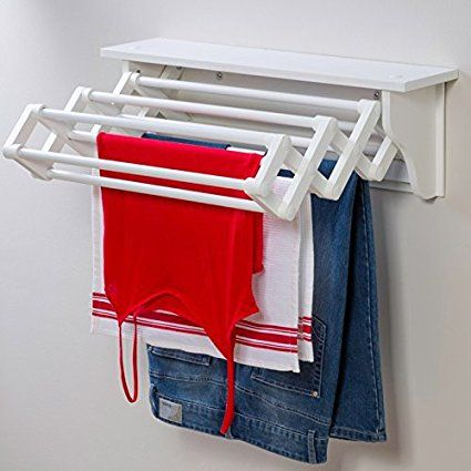 Space Saving Compact Wall Mounted Indoor Expandable Accordion Style Clothes Dryer Folding Laundry Hanging Wash Line Airer Drying Towel Rack With Top Shelf £24.99 Amazon