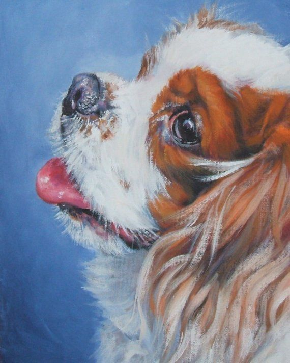 Cavalier King Charles Spaniel art CANVAS print of LA Shepard painting  8x10 dog art