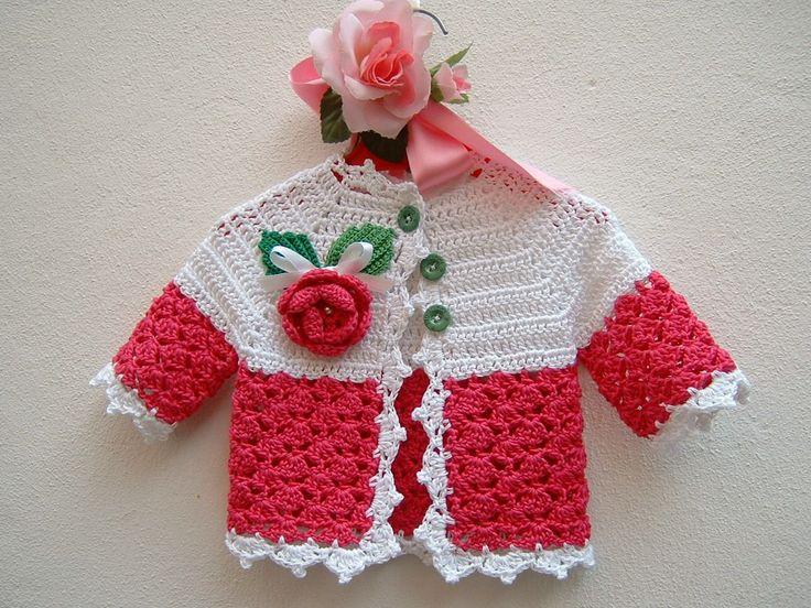 RISERVATO Golfino per bebè a crochet-Mini cardigan estivo da neonata-Giacchina di cotone bianco e fucsia : Moda bebè di i-pizzi-di-anto