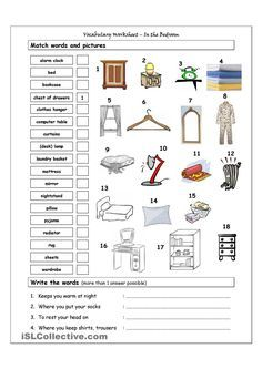 Vocabulary Matching Worksheet - In the bedroom