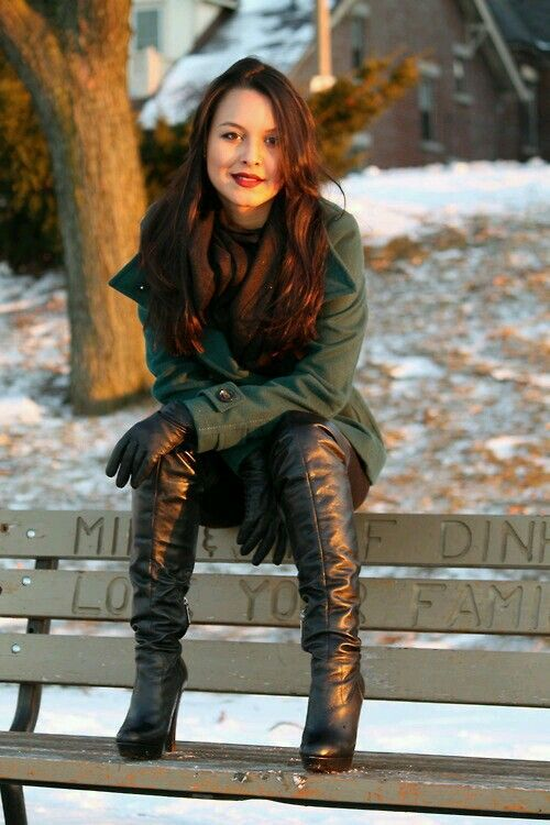 Black leather OTK boots gloves outfit on park bench