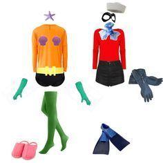 Mermaid Man and Barnacle Boy Couple Costume Halloween Spongebob DIY | best stuff