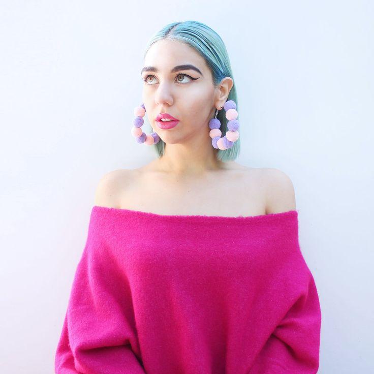 Pom Hoop Earrings (Pink & Purple) by Elleni the Label
