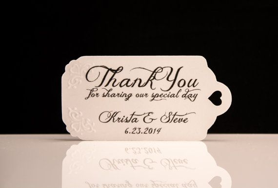 Wedding Favor Tags Sayings : Wedding Favor TagsHand EmbossedPersonalized Thank You Tags ...