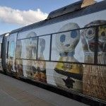One side of the Queensland Tilt Train has been superimposed with work designed by the Indigenous artists working out of the Girringun Aboriginal Art Centre in Cardwell. You can see this train anywhere between Brisbane and Cairns. Photo by David Campbell.