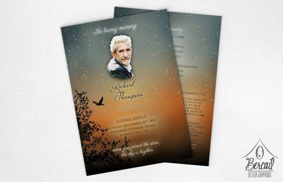 Funeral Program Keepsake with Sunset Design • Printable Celebration of Life Program • Online Memorial Service Program • Funeral Pamphlets • OBercailDesign