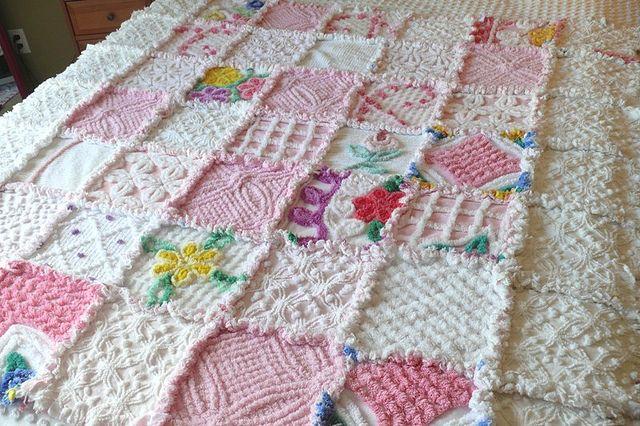Vintage Chenille Rag Quilt by Nesha's Vintage Niche, via Flickr