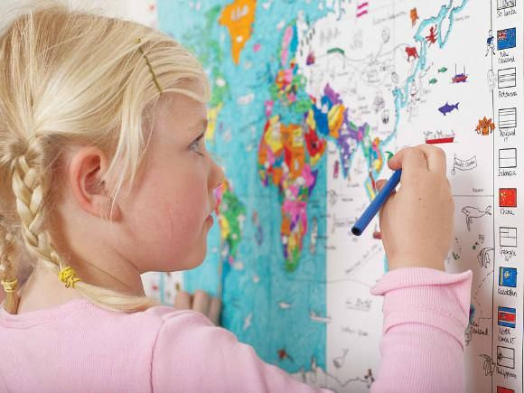 Color-In World Map for Kids
