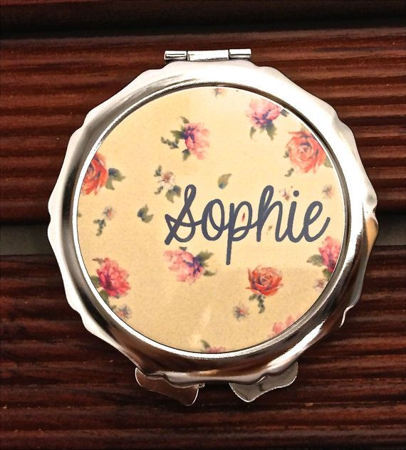 Personalized Compact Mirror classic floral vintage design pattern pocket mirror- Great Bridal / bridesmaid gift idea birthday gift on Etsy, $12.00
